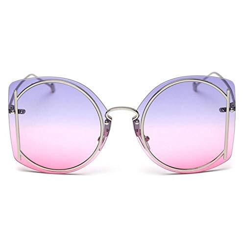 Elegant Futuristic Rimless Oversized Sunglasses Women Luxury C50 Blue ()