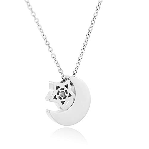 WDSHOW Star Moon Necklace for Women Girls (Flag With Crescent Moon And 5 Stars)
