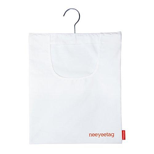 (neeyeetag Canvas Clothespins Bag, Hanging Storage Organizer, White)