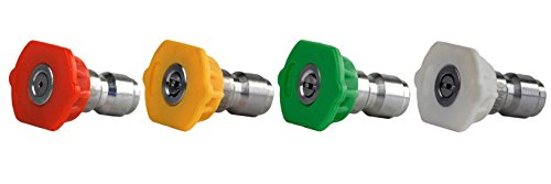 Erie Tools 4 Piece 4000 PSI 1/4'' Quick Connect Kit 6.0 Stainless Steel Orifice High Pressure Washer Spray Nozzle Tip by Erie Tools
