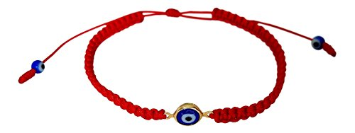 Evil Eye Red String Bracelet Macrame Braided With Blue Lucky Eye to Ward Off The Evil Eye Mal De Ojo