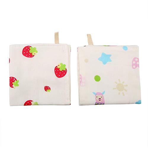 Meiyya Baby Towel, Cotton Absorbent Washcloth Handkerchief for Nursing(Sheep+Strawberry)