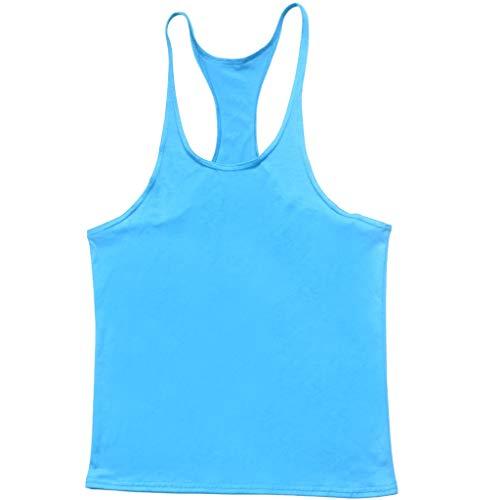 Hot!Men's Solid Color Thin Shoulder Strap Tank Tops Ninasill Off Shoulder Sleeveless Tops Sporty Fitness Casual T-Shirt Light Blue by Ninasill Man Tops (Image #1)