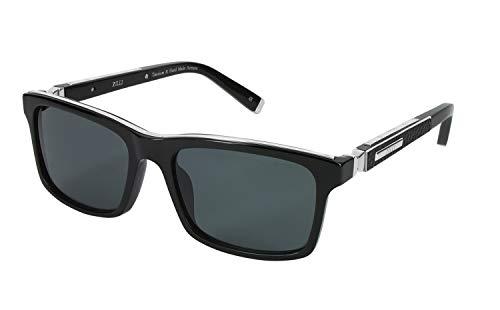 ZILLI Designer Luxurious Eyewear Sunglasses for Men Polarized - Crocodile Leather and Titanium Acetate - Eyeglasses Polarized Frames Rectangular- 65009 - HAND MADE IN FRANCE, Platinum, Black, (C03)