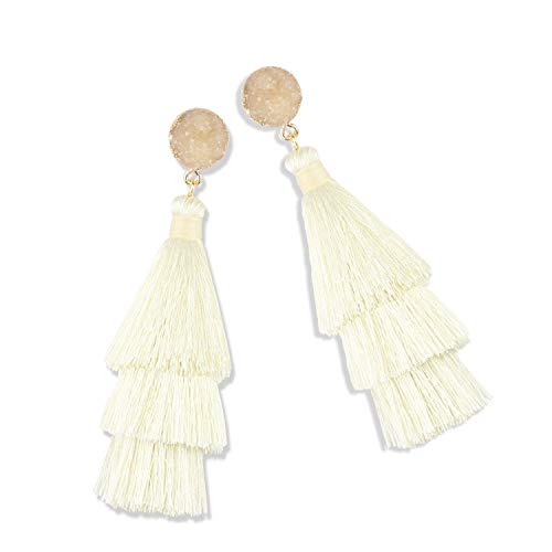Statement Tassel Earrings for Women Drop Dangle Handmade Tiered Thread Layered Bohemian Beach Party Girl Novelty Fashion Summer Accessories - E3 Cream - Fashion Cream