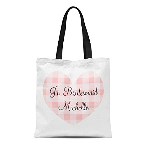 Semtomn Cotton Line Canvas Tote Bag Personalized Jr Bridesmaid Pink Heart Gingham Pattern Wedding Kids Reusable Handbag Shoulder Grocery Shopping Bags
