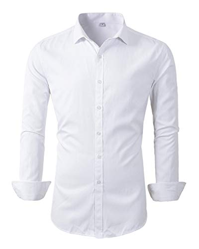 Mens Long Sleeve Slim Fit Dress Shirts (M, 455White) ()