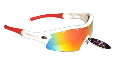 RayZor Professional Lightweight UV400 White Sports Wrap Cricket Sunglasses, With a 1 Piece Vented Red Iridium Mirrored Anti-Glare - Cricket Sunglasses