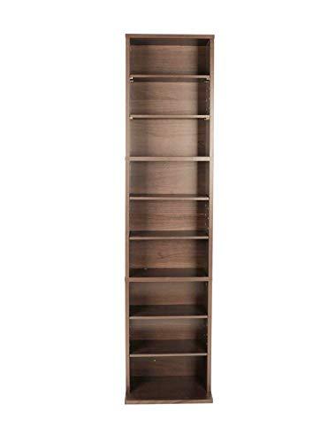 Pro-G Elegant Storage Shelf Slim Cabinet Stand Wood 6 Adjustable 3 Fixed Shelves DVD Book (Dvd Pine Storage)