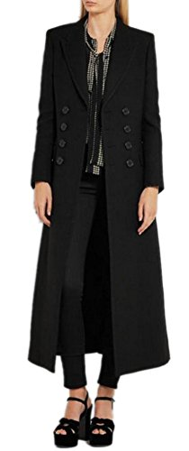 Women's Vintage Double Breasted Long Wool Coat Maxi Length Black Military Jacket