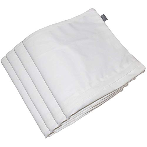 "4-Pack 100% Cotton Comfortable Solid Decorative Throw Pillow Case Square Cushion Cover Pillowcase 17.7"" x 17.7"" (White)"