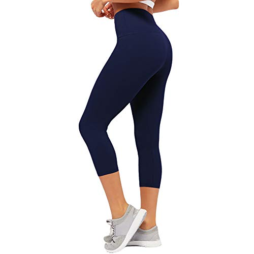 CAMPSNAIL Plus Size High Waisted Leggings for Women Yoga Pants Capri Leggings Compression Cropped Leggings Athletic Workout Leggings Navy Blue