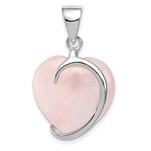 925 Sterling Silver Rose Quartz Pendant Charm Necklace Gemstone Fine Jewelry For Women Gift Set ()