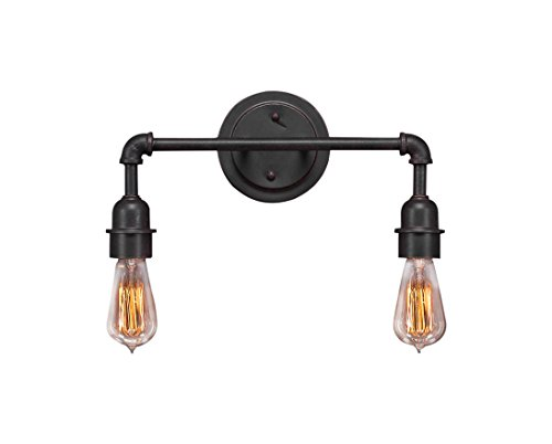 Toltec Lighting 182-DG-AT18 Vintage 2 Light Bath Bar with 60W Amber Antique Bulb, Dark Granite Finish