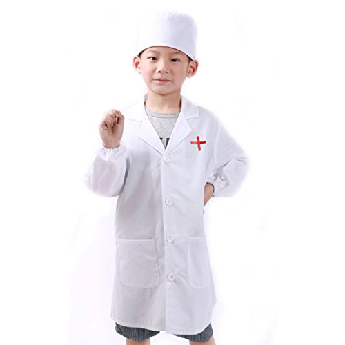 Baby Professor X Costume (Kids Lab Coat With Cap For Kid Scientists or Doctors Role Play Costume Dress-Up Set (X-Large, White))