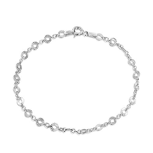 Amberta 925 Sterling Silver 1.5 mm Trace Chain Bracelet with 4 mm Disc Length 8 inch / 20 cm (8)