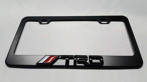(Usudu for TRD Logo Emblem Stainless Steel License Plate Frame Rust Free W/Bolt Caps for Tacoma 4Runner Tundra (Black+Black Logo))