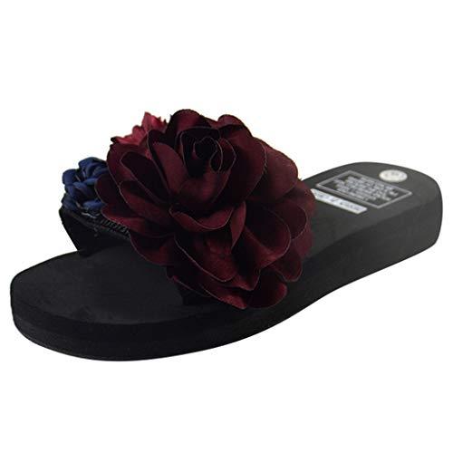 Wedge Slide Sandal,ONLY TOP Women Platform Slides Sandals Summer Flower Slip On Shoes Open Toe Slippers Red