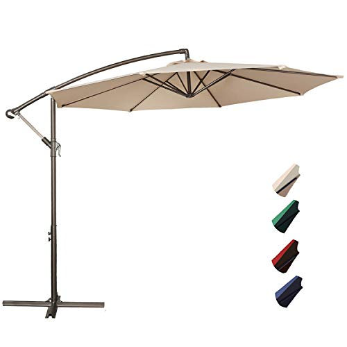 RUBEDER Offset Umbrella - 10Ft Cantilever Patio Hanging Umbrella,Outdoor Market Umbrellas with Crank Lift & Cross Base (10 Ft, Beige) ()