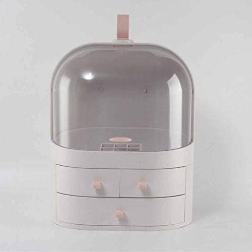 メイクボックス ジュエリー・アクセサリー収納 小物入れ 化粧品収納ケース 透明化粧品ケース 化粧ポーチ 蓋付き 防塵 防水 強い耐久性 まとめ収納 浴室収納 テーブル整理 かわいい27*19*47cm