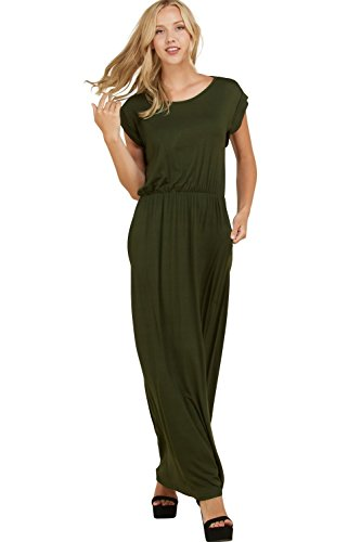 - Annabelle Women's Solid Full Length Pocketed Plus Size Maxi Dress Olive X-Large D5548P