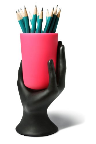 This pink pen holder and hand is packed with personality. Creepy or quirky? You decide!