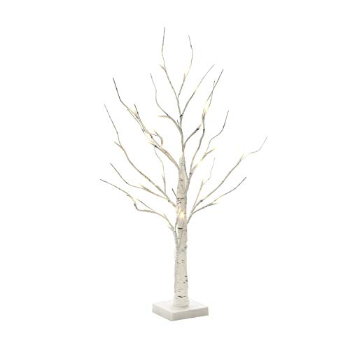 (EAMBRITE 2FT 24LT Warm White LED Battery Operated Birch Tree Light Tabletop Tree Light Jewelry Holder Decor for Home Party)