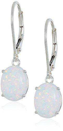 Created Opal Dangle Earrings - Sterling Silver Oval Gemstone Dangle Earrings