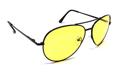 Black High Definition Yellow Lenses HD Aviator - Shooting Yellow Glasses Aviator