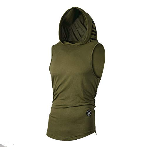 WUAI Men's Casual Hoodies Workout Tank Tops Sleeveless Sport Pullover Sweatshirt Loose Tops T-Shirt (Green, US Size XL = Tag 2XL) ()