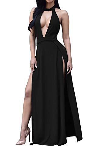 - Limtery Women Sexy Hollow Out Halter Wrap Sleeveless Plain Pleated Slit Casual Long Maxi Dress (XX-Large, Black01)