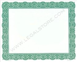 Goes Blank Stock Certificates, Large Border, 10'' x 8'', Green, 500 per package