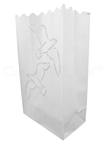 CleverDelights White Luminary Bags - 20 Count - Two Doves Design - Flame Resistant Paper - Wedding, Reception, Party and Event Decor - Luminaria Candle Bag -