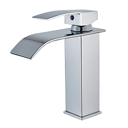 Senlesen Deck Mount Waterfall Spout Single Handle One Hole Bathroom Sink Faucet Chrome Finish