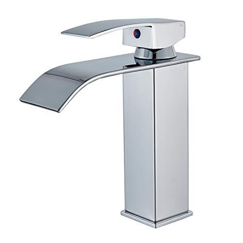 - Senlesen Deck Mount Waterfall Spout Single Handle One Hole Bathroom Sink Faucet Chrome Finish