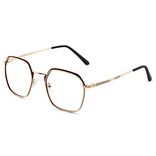 - OCCI CHIARI Women's Glasses Frame Oversized Non Prescription Metal Eyeglasses Optical Eyewear (Red+Gold+Black 50-21-145)