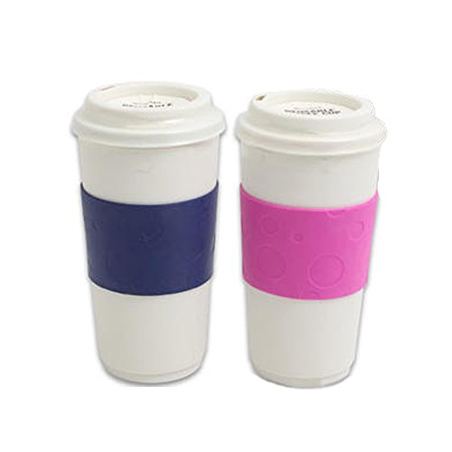 reusable coffee togo mugs set of 2 his u0026 her 16oz coffee cups with lid u0026 comfort grip double wall travel design bpa free dishwasher safe blue - Coffee Travel Mugs