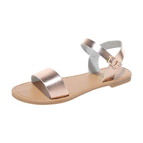 - ♡QueenBB♡ Women's Soft Faux Leather Open Toe and Ankle Strap Buckle Flat Sandals Simple Basic Shoes Gold