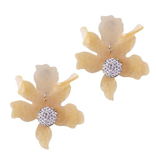 Yeefant 1 Pair Art Flower Pendant Shaped Steel Stud Diamond Jewelry Earring for Girl,Yellow