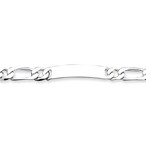 8,5 cm-Argent fin 925/1000 mailles Figaro Bracelet d'identité Engraveable Fermoirs Mousquetons-JewelryWeb
