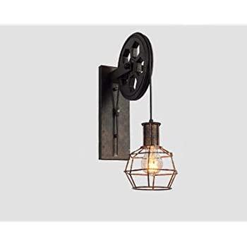 kiven loft industrial wall light 1light iron wall sconce lifting pulley