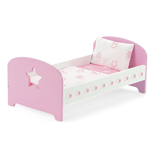 18-inch Doll Furniture | Pink Single Bed with Star Includes Bedding