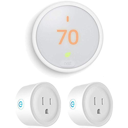 T4000ES Learning Thermostat E (White) with 2 Pack Wi-Fi Smart Plug