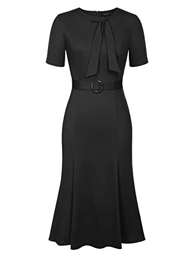 CHICIRIS Women's 1950S Style Flare Slim Evening Cocktail Fishtail Dress Black Size XL ()