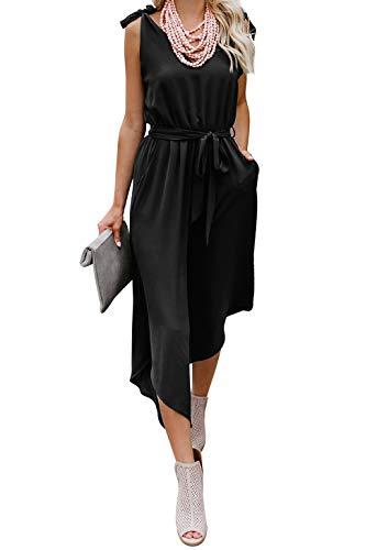 (BELONGSCI Women Outfit Sleeveless Shoulder Bandage Waistband Sexy V-Neck Wide Leg Long Jumpsuit with Belt Black )