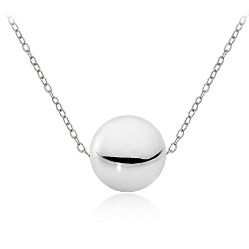 Hoops & Loops Sterling Silver 10mm Polished Ball Bead Necklace