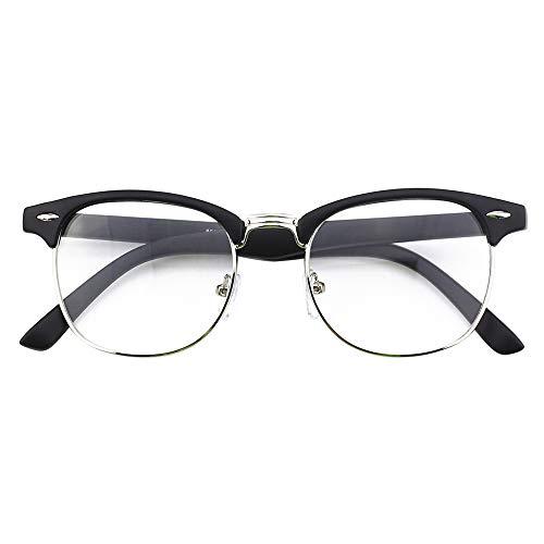 Happy Store CN56 Vintage Inspired Classic Horn Rimmed Half Frame Nerd UV400 Clear Lens Glasses,Matte ()