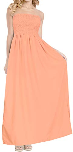 - LA LEELA Rayon Solid Strapless Cover Up Skirt Party Peach 3505 One Size