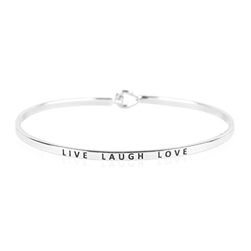 - Inspirational Bar Metallic Bangle - Simple Message Engraved Geometric Cuff Bracelets Christian Bible/Religious/Amazing Grace/Blessed/Faith/Love/Hope (Minimal Bar - Live Laugh Love/Silver)