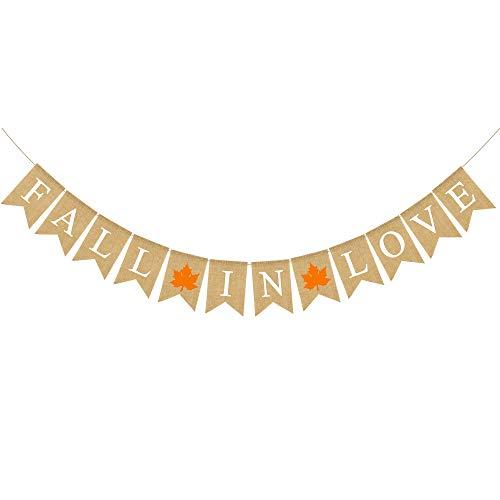 - Rainlemon Jute Burlap Fall in Love Banner with Maple Rustic Fall Autumn Wedding Engagement Bridal Shower Garland Decoration